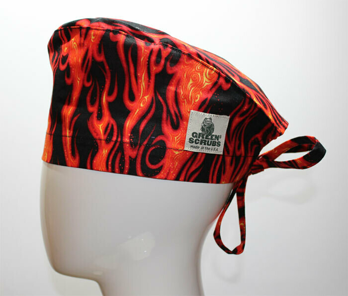 Green Scrubs - Tieback Hat - Flames 1