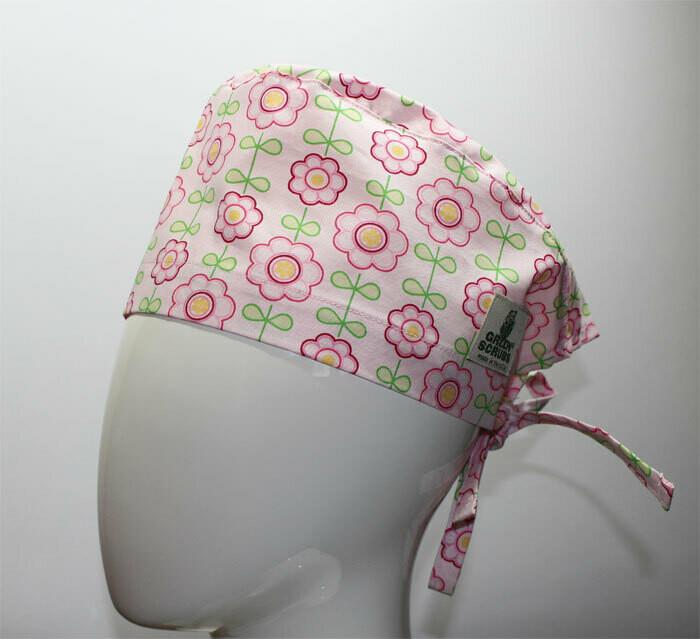 Green Scrubs - Tieback Hat - Spring Flowers
