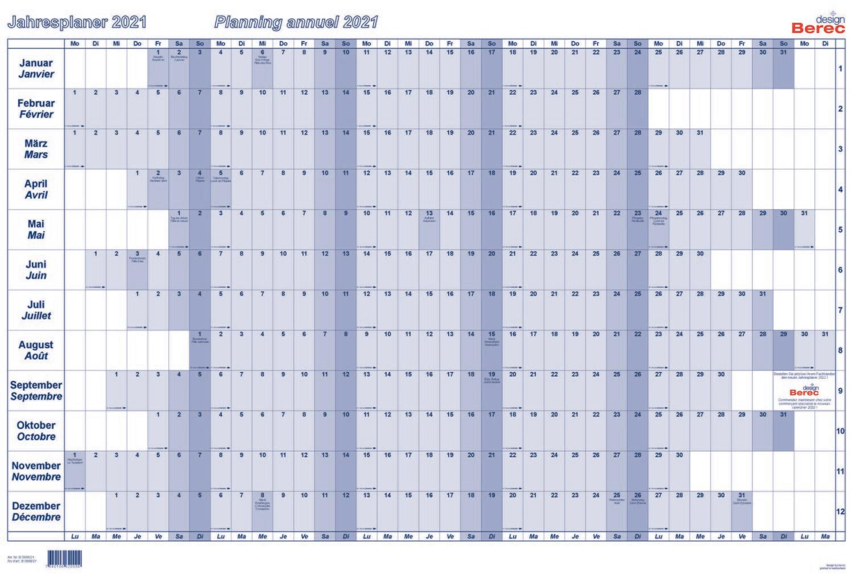 Der Karton-Jahresplaner von Januar bis Dezember 2021