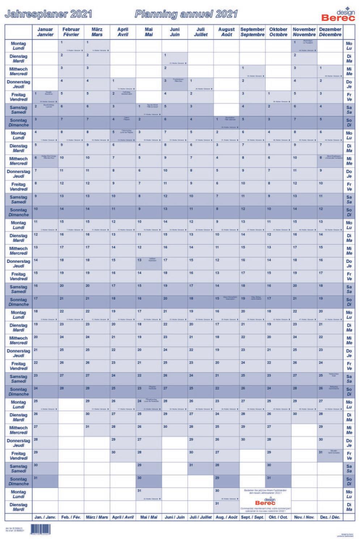 Ein übersichtlicher Hochformatplaner Januar bis Dezember 2021