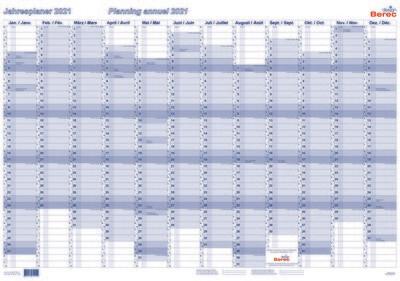 Karton-Jahresplaner von Januar bis Dezember 2021