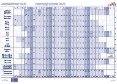 Der Papierjahresplaner A2 von Januar bis Dezember 2021 25 x 13,8 mm (H x B)