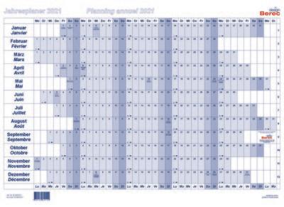 Der Papierjahresplaner A3 von Januar bis Dezember 2021 19,2 x 9,8 mm (H x B)