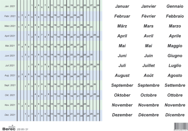 Datumstreifenset für 5-Tage-Woche (selbstklebend)