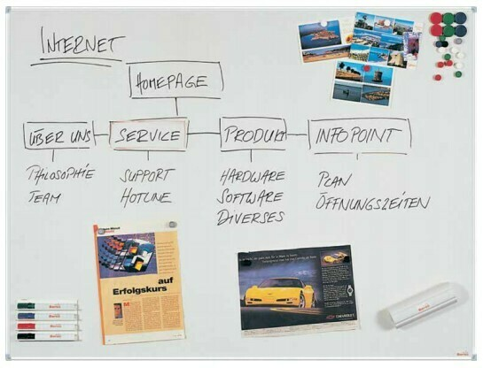 Emaillierte Schreibtafel im Businessline-Profil 120 x 150 cm