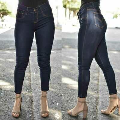 Pantalon mezclilla para dama tobillero costuras cafes-080