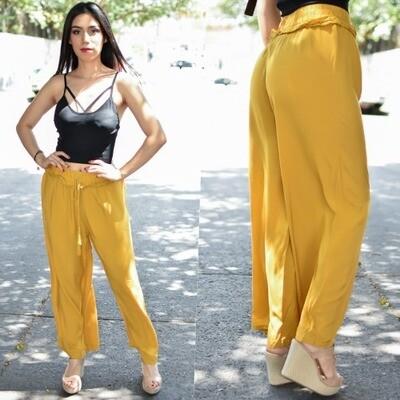 Maxi pantalon recto modelo 00120-mostaza