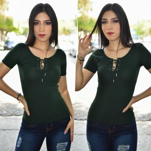 Blusa con cinta al frente - verde