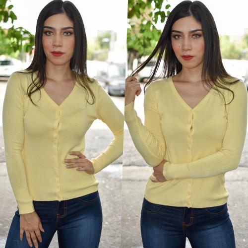 Sueter de boton- amarillo
