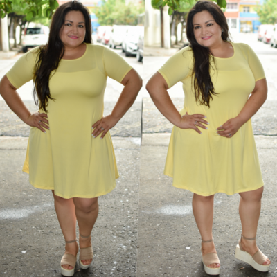 Vestido corte A Curvy Amarillo-00292