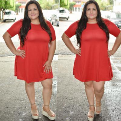 Vestido corte A Curvy Rojo-00294