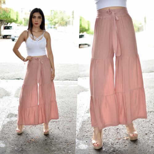 Maxi pantalon seccionado Rosa-00348