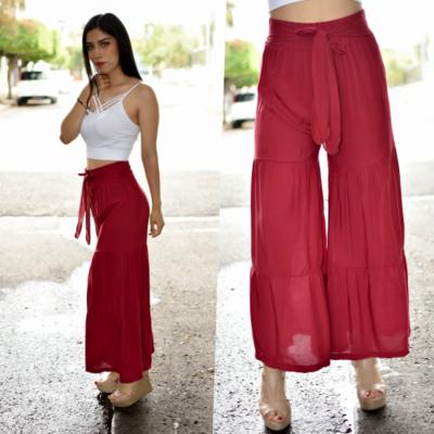 Maxi pantalon seccionado Tinto