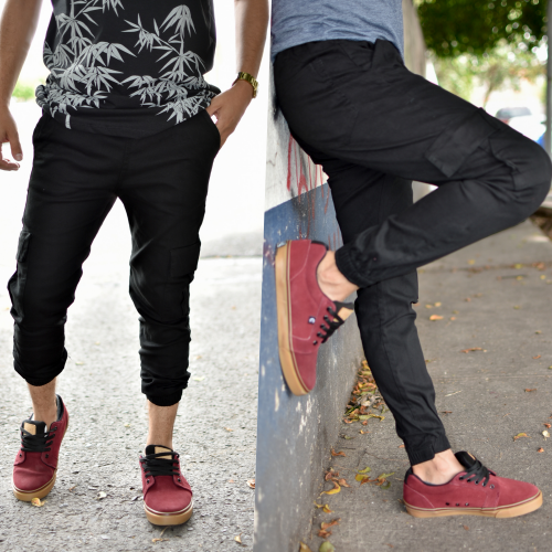 Pantalon Jogger gabardina -negro-00357