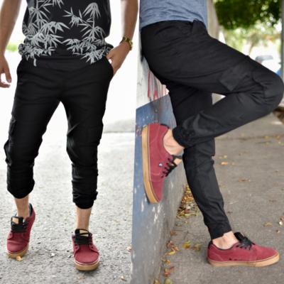 Pantalon Jogger gabardina -negro