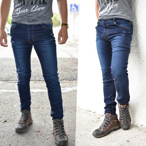 Pantalon skinny azul con destruccion