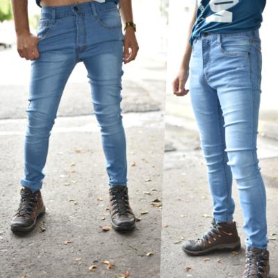 Pantalon skinny azul claro