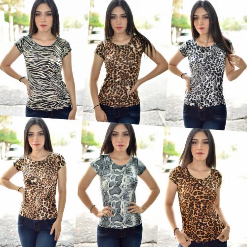 Paquete de 6 blusa animal print cuello redondo-00369