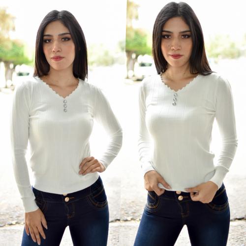 blusa / Sueter perlita - blanco
