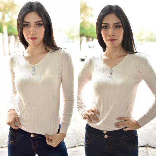 blusa / Sueter perlita - beige
