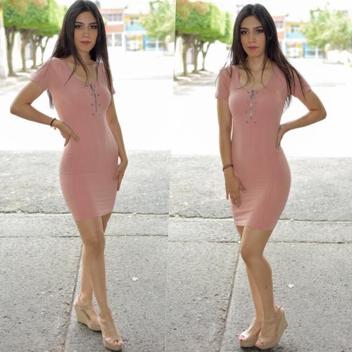 Vestido lapiz con cierre- Rosa