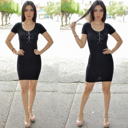 Vestido lapiz con cierre- negro