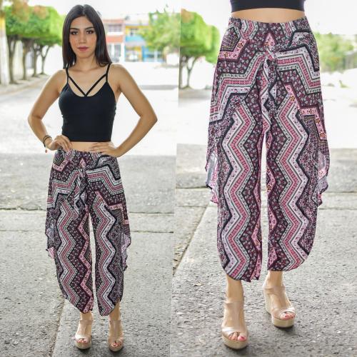 Pantalon tobillero con Olan -rosa-00402