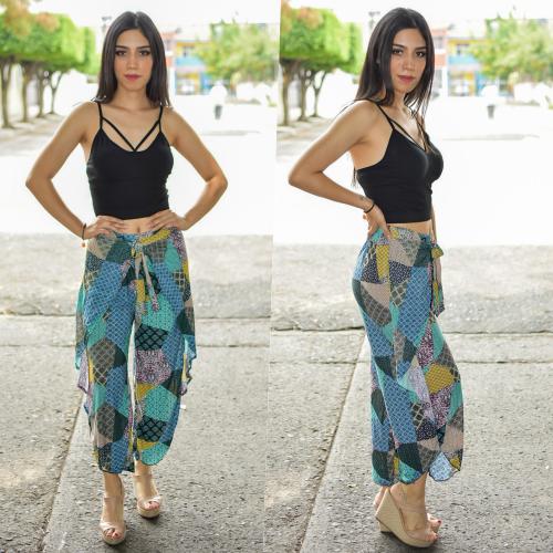 Pantalon tobillero con Olan - Verde-00404