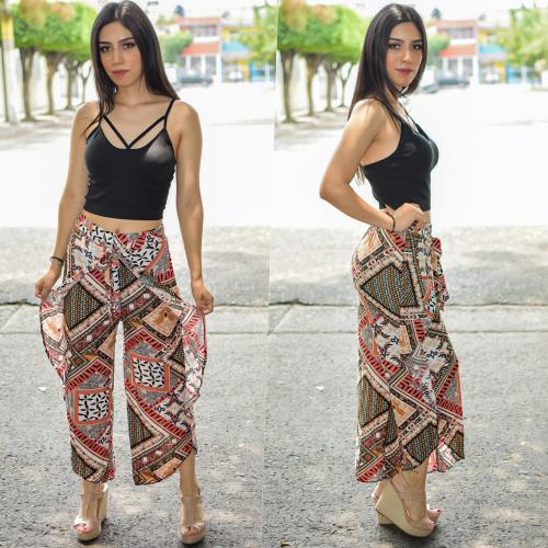 Pantalon tobillero con Olan -Rojo-00405