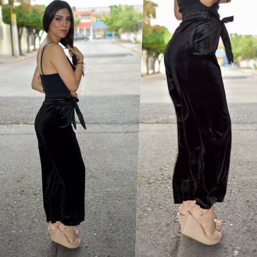 Pantalon de terciopelo-negro