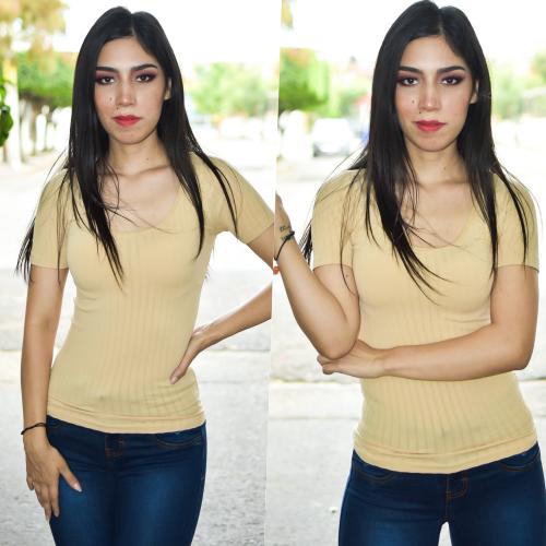 Blusa cuello redondo Acanalada-Beige