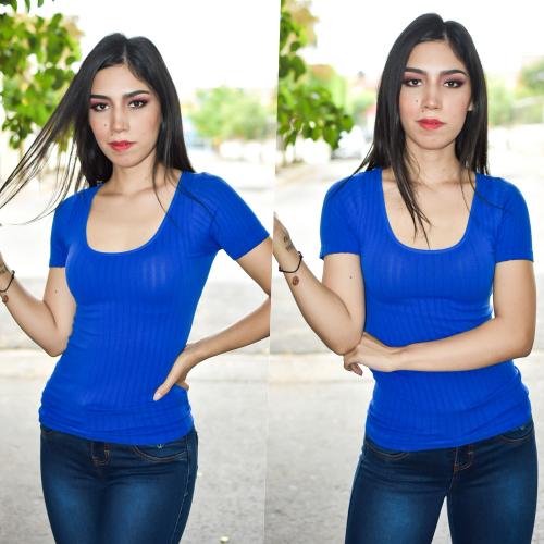 Blusa cuello redondo Acanalada- Azul Rey