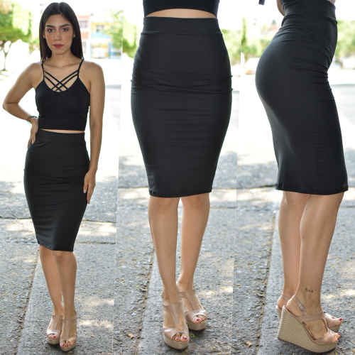 Falda lapiz - Negro