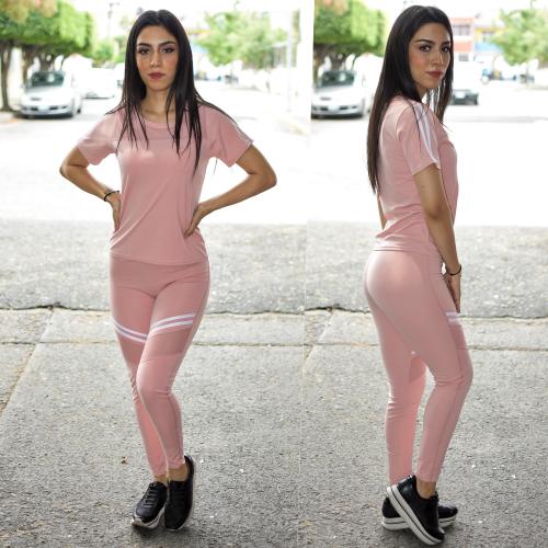 Conjunto deportivo Rosa con lineas y transparencia