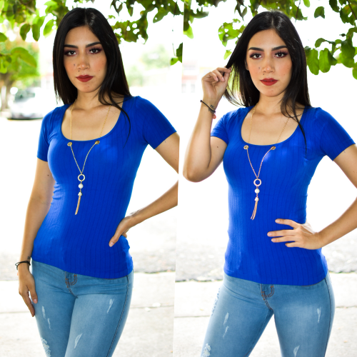 Blusa con collar- azul rey-00556