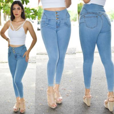 Pantalon tobillero pretina alta con dobladillo azul claro
