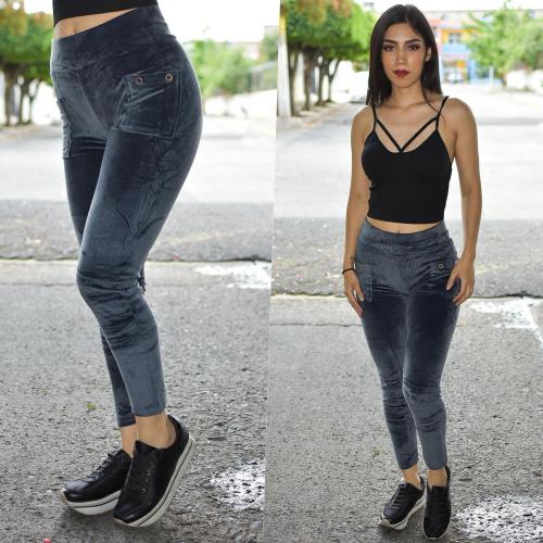 Pantalon pana licra gris-00601