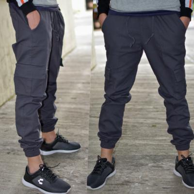 Pantalon Jogger gabardina -Gris-00621