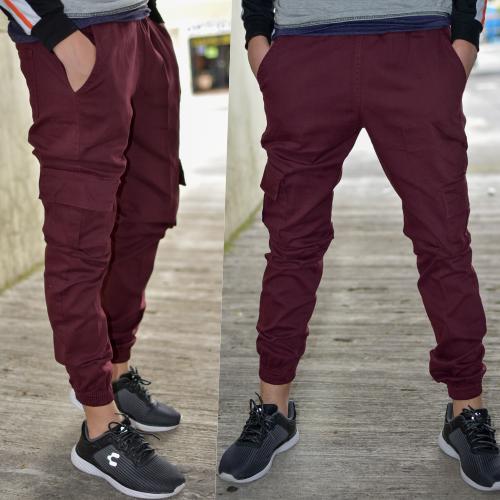 Pantalon Jogger gabardina -Tinto