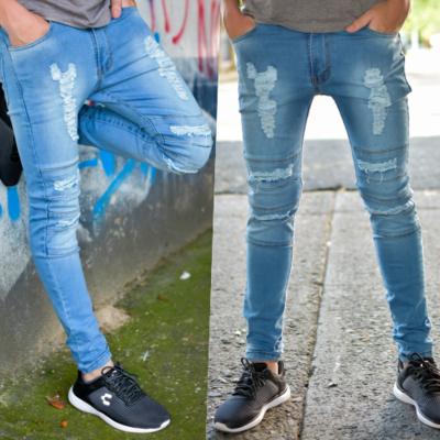 Pantalon skinny Para caballero-azul claro