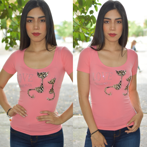 Blusa Aplicacion Gatito -Rosa