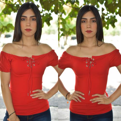 Blusa Campesina con cintas - Rojo