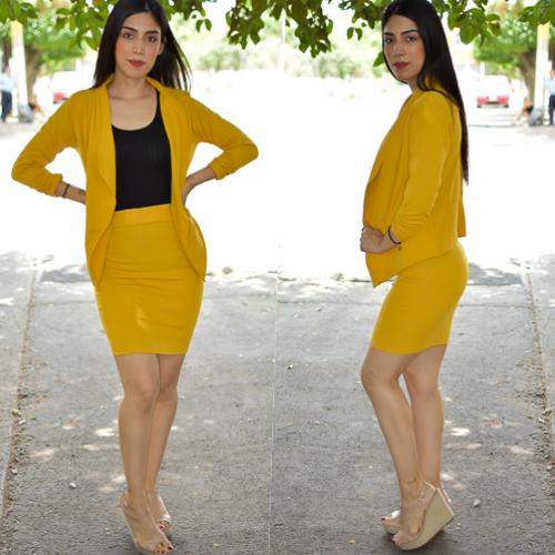 Conjunto blazer y  falda- Mostaza