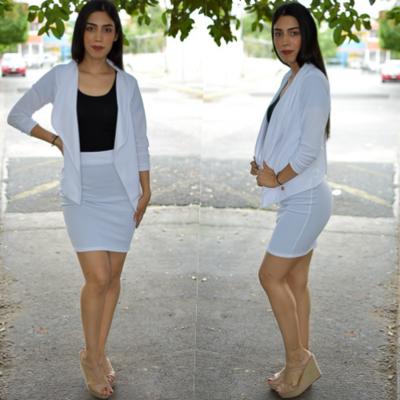 Conjunto blazer y  falda- Blanco