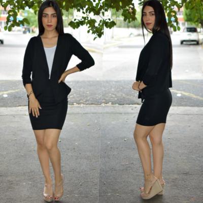 Conjunto blazer y  falda- Negro