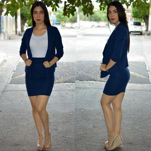 Conjunto blazer y  falda- Marino