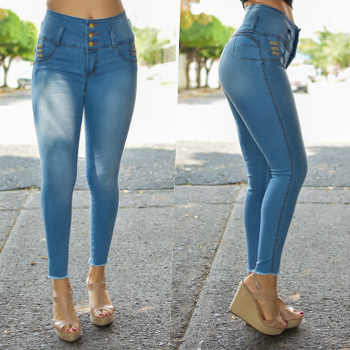 Pantalon tobillero 3  botones Con bolsa azul Claro