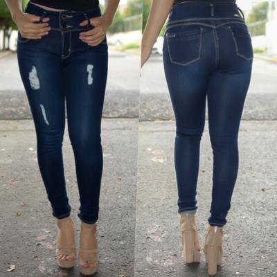 Pantalon corte a la cintura azul Obscuro con bolsas