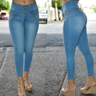 Pantalon tobillero Azul claro, pretina alta