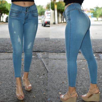 Pantalon tobillero destruccion azul claro